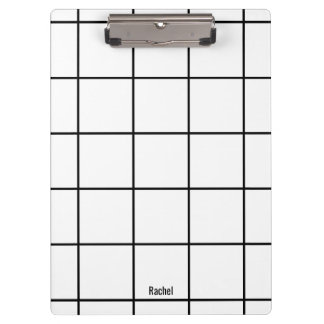 Minimalist Black & White Custom Name Clipboard