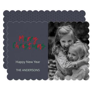 Minimalist Black / White Merry Christmas Green Red Card