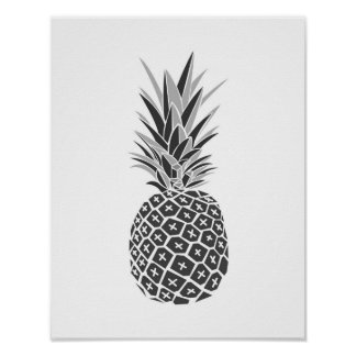 Minimalist Black & White Pineapple Poster