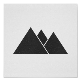 Minimalist Black & White Triangles Poster