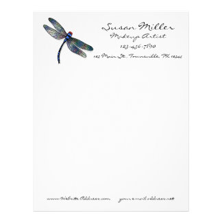 Minimalist Blue Dragonfly Letterhead