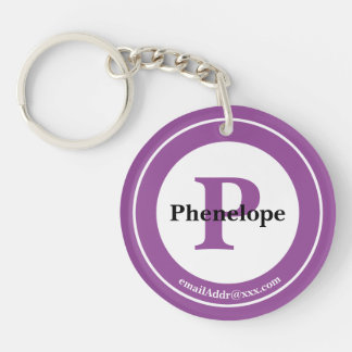 Minimalist - Bold Initials Name and ID Purple Keychain