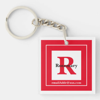 Minimalist - Bold Initials Name and ID Red Keychain