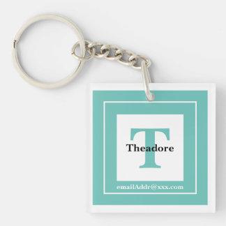 Minimalist - Bold Initials Name and ID Teal Keychain