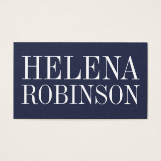Minimalist bold modern dark blue business card