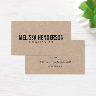 Minimalist Bold Typography Real Kraft Business Card