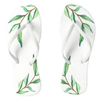 Minimalist Botanical Green Leaves on White Flip Flops