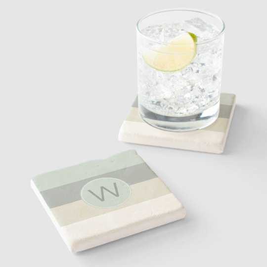 Minimalist Calming Stripes Pattern with Monogram Stone Coaster