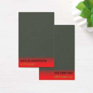 Minimalist Charcoal Ivory Red Mist Cosmetologist Business Card