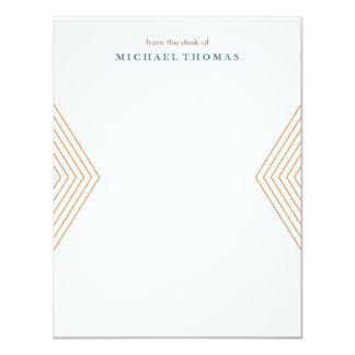 "Minimalist Chevron Stationery - Tangerine 4.25"" X 5.5"" Invitation Card"