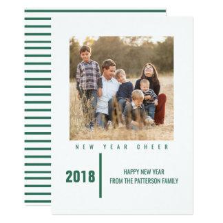 Minimalist Chic New Year's Photo Card | Green