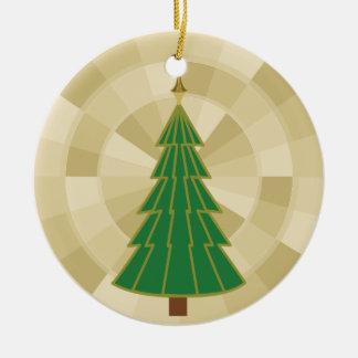 Minimalist Christmas Tree on Gold Round Ceramic Ornament