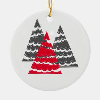 Minimalist Christmas Trees Ceramic Ornament