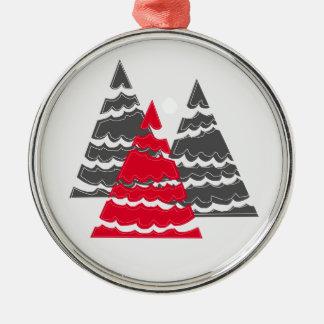 Minimalist Christmas Trees Metal Ornament