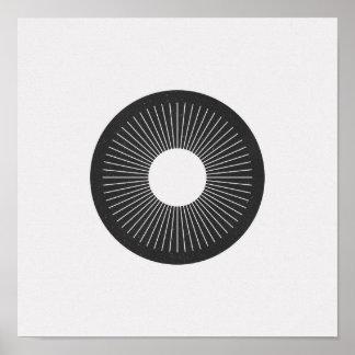 Minimalist Circle Iris Black and White Poster