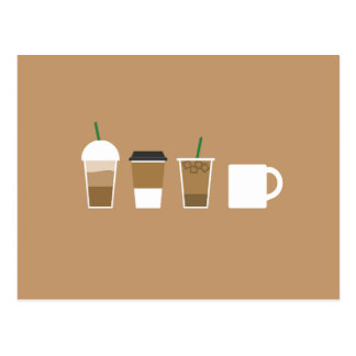 Minimalist Coffee Drinks Postcard