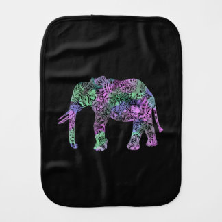 minimalist colorful tribal floral elephant cartoon burp cloth