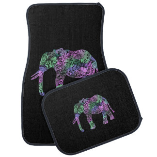 minimalist colorful tribal floral neon elephant car mat