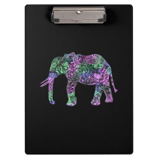 minimalist colorful tribal floral neon elephant clipboard