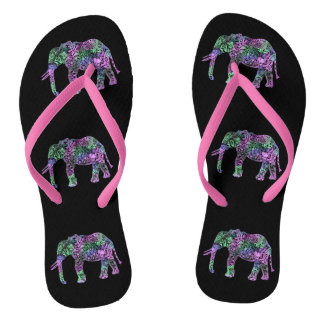 minimalist colorful tribal floral neon elephant flip flops
