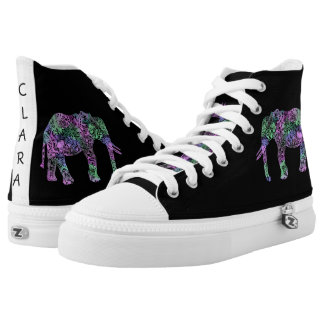 minimalist colorful tribal floral neon elephant high tops