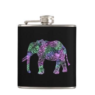 minimalist colorful tribal floral neon elephant hip flask