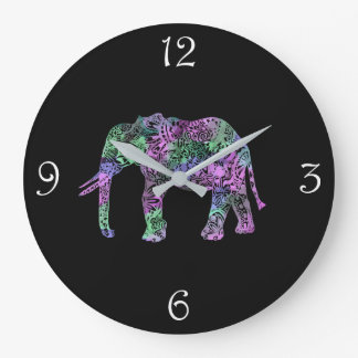 minimalist colorful tribal floral neon elephant large clock
