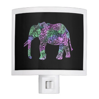minimalist colorful tribal floral neon elephant night lites