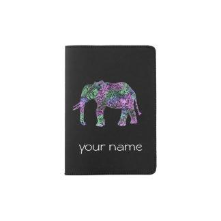 minimalist colorful tribal floral neon elephant passport holder
