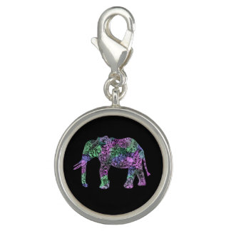 minimalist colorful tribal floral neon elephant photo charm