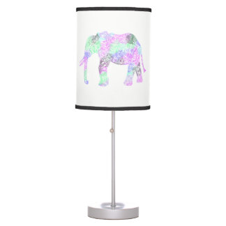 minimalist colorful tribal floral neon elephant table lamp
