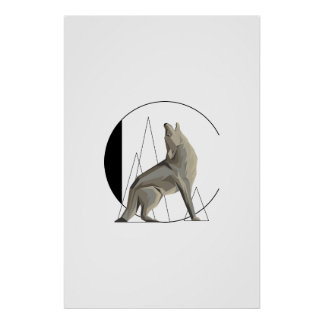 Minimalist Coyote / Wolf C Poster