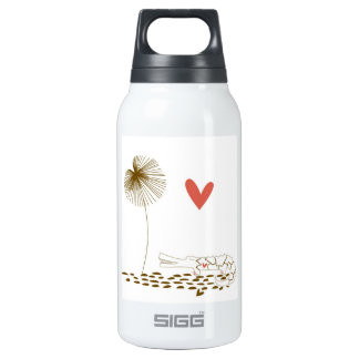 Minimalist Crocodile with heart and brown flower. Insulated Water Bottle