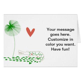 Minimalist Crocodile with heart and green flower Card