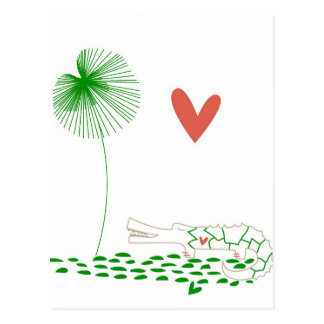 Minimalist Crocodile with heart and green flower Post Cards