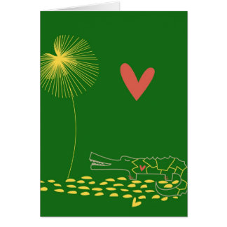 Minimalist Crocodile with heart and yellow flower Greeting Cards