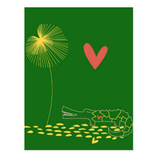 Minimalist Crocodile with heart and yellow flower. Post Cards