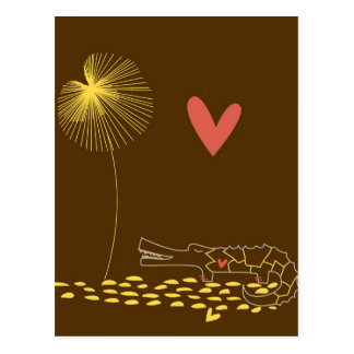 Minimalist Crocodile with heart and yellow flower. Postcards