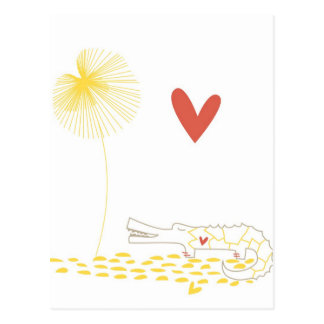 Minimalist Crocodile with heart and yellow flower. Postcard