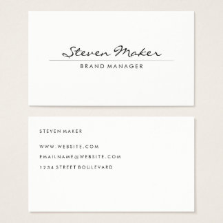 Minimalist Cursive Font Business Card