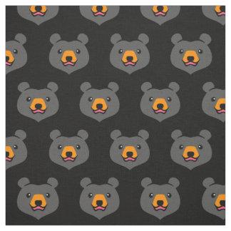 Minimalist Cute Black Bear Cartoon Fabric