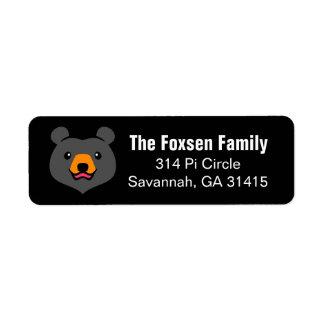 Minimalist Cute Black Bear Cartoon Return Address Label