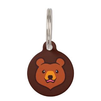 Minimalist Cute Grizzly / Brown Bear Cartoon Pet ID Tag