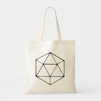 Minimalist D20 Canvas Tote Bag Tabletop Dice Gamer