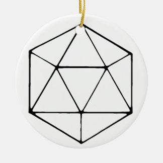 Minimalist D20 Design Tabletop Gamer Geek Ceramic Ornament