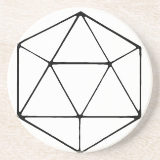 Minimalist D20 Design Tabletop Gamer Geek Coaster