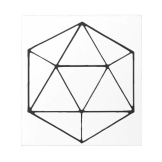 Minimalist D20 Design Tabletop Gamer Geek Notepad