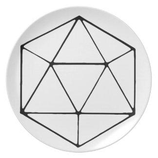 Minimalist D20 Design Tabletop Gamer Geek Plate