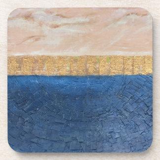 Minimalist Decor, Navy and Beige Coasters, Gold Coaster