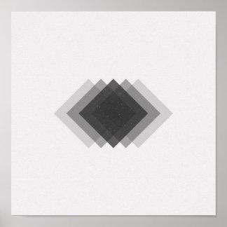 Minimalist Diamonds Black and White Poster